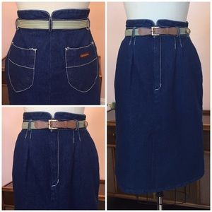 Vintage GITANO High Waist Denim Skirt with Belt